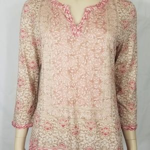 pink floral Y-neck long sleeve shirt ladies Small